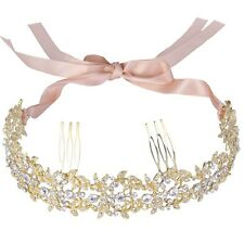 Gold Bridal Wedding Tiara, Hair Piece Comb Slide, Ribbon With Tiara Box