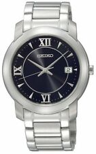 SEIKO DRESS ANALOG DATE BLACK DIAL STAINLESS STEEL MEN'S WATCH SGEE95 NEW