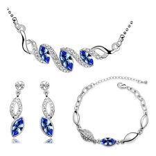 Silver & Royal Blue Teardrop Jewellery Set Drop Earrings Necklace Bracelet S497