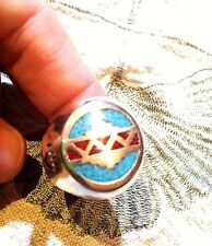 Vintage Large Silver American Style Inlay Stone 9 Size Ring