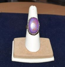 LARGE Sterling Silver and Purple Stone Statement Ring Size 6.5
