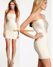 NWT bebe ivory beige band shine strapless ruched mesh bodycon top dress L large