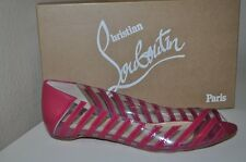 NIB CHRISTIAN LOUBOUTIN A6 PVC Specchio PINK/clear Open-toe Flat Shoes 37.5 - 7