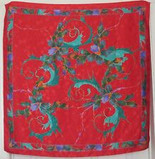"""TERRIART Red, Teal, Gold Flowers SILK JACQUARD 35"""" Square Scarf-Vintage"""