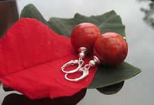 Stunning Red Coral Large 18 mm Bead 925 Sterling Silver Earrings with Leverback