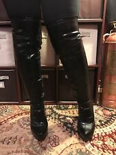 Jennifer Lopez Black Faux Leather Over The Knee Boots Size 9.5 Fetish Bondage