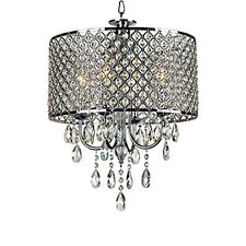 Luxury Crystal Chandelier Ceiling Pendant Light Fixture Silver Dining Room Decor