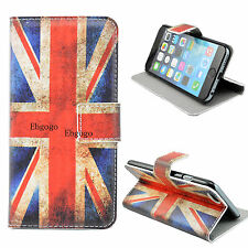 UK Flag Leather Cell Phone Pouch Wallet Stand Case Cover For Apple iPhone 6 4.7""