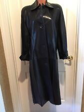 Concepts By Vakko Macy's Vintage 90's Black Leather Trench Coat S Small Euc