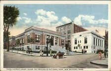 New Bedford MA Court & Bank c1920 Postcard