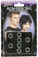 Non-Piecing Clip On Jewelry Kit - Punk - Goth 8 Rings Costume Accessory fnt