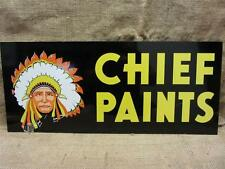 Vintage Doubled Sided Chief Paint Sign   Antique Old Metal Store Hardware 8234