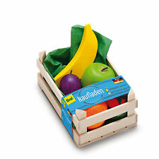 Wooden pretend role play food Erzi play kitchen shop: Crate of Fruit Selection