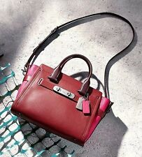 NWT in Package $550 COACH Colorblock Leather Swagger Satchel Red Currant 56039