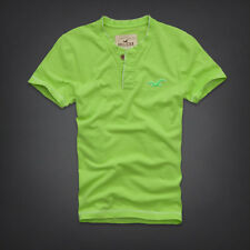 New Hollister Mens Emerald Cove Henley T-Shirt Bright Green Size Medium