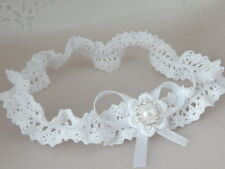 Baby hair band for christening, baptism, white baby bow handmade in the UK