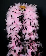 """180g 80""""long Baby Pink w/ Black tips Chandelle Feather Boa largest on eBay, NEW!"""