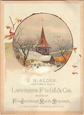 Victorian Trade Card-Alden Marble Monuments-Hornellsvillle, NY-Church in Snow