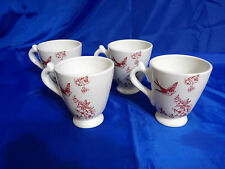 "Vintage ANDREA SADEK ""Bird Toile Red"" Elisabeth Trostli Coffe Mugs - Set of 4"