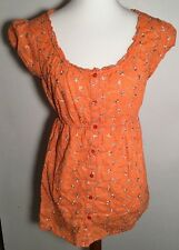 Motherhood Maternity Orange Floral Stitched Peasant Top M Med