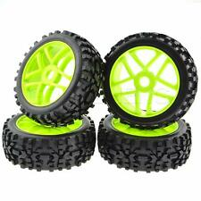 4x 1:8 RC Tires 17mm Hub Wheel Rims Pentagram for 1:8 Scale Off-Road Buggy Green