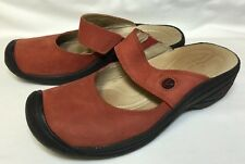 KEEN Mary Jane Clog Mule Slip On Loafers Shoe  Red Soft Nubuck Leather Women's 7