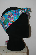 turquoise halloween skulls head scarf costume hair accessory trick or treat