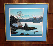Lovely ANTIQUE CHINESE PAINTING ON SILK Framed and Signed Gold Bamboo frame Blue