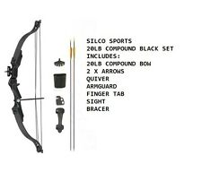 Archery 20Lbs Youth Black Compound Bow & Arrows Set with Acessories