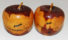 Salt Pepper Shakers Wood Figural Apples Williamsburg VA Vintage Souvenir Shaped