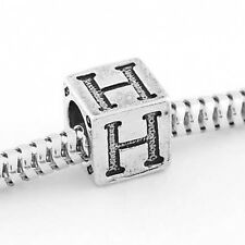 STERLING SILVER CUBE ALPHABET INITIAL H CUBE BEAD