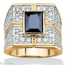 MENS 18K GOLD OVER STERLING SILVER SAPPHIRE  RING SIZE 7,8,9,10,11,12,13