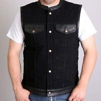 NEW Black Denim and Leather Vest Sleeveless Jacket
