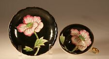 Black Three Footed Cup and Saucer with Pink Peonies