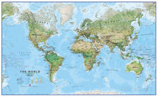 World Physical Megamap 1:20, Laminated Wall Map Laminated Poster - 77x48