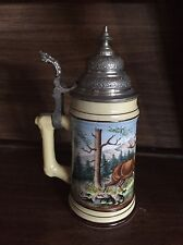 German Beer Stein. Deer. Outdoors. Lithophane. Pewter. Hand Crafted.rare.vintage