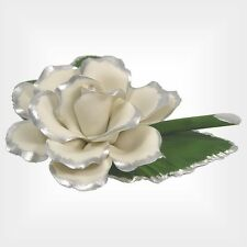 Capodimonte Porcelain Silver Trim White Rose on Leaf (Free Anniversary Gift Box)