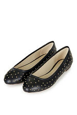 TOPSHOP black studded 'Vision' ballet pumps flats shoes UK size 5 (Eu 38)