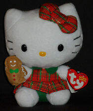 TY HELLO KITTY PLAID CHRISTMAS DRESS BEANIE BABY - MINT TAGS