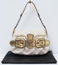 FENDI B Buckle Handbag in Gold Leather and Cream Canvas Shoulder Bag