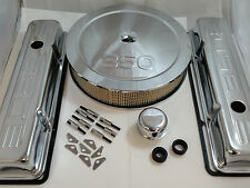 SB Chevy SBC Chrome 350 Stamped Logo Engine Dress Up Kit W/ TALL Valve Covers