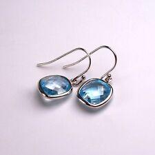Ohrringe Damen 925er Sterlingsilber rhodiniert Edel Topas blau facettiert 10 mm