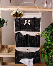 6-Pocket Handmade Black Hanging bath Organizer Beauty Home Wall Door Storage