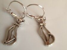 Cat hoop earrings silver in colour