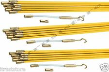 Fiberglass Cable Running Rods Kit Fish Tape Electrical Wire Coaxial Puller 3 Set