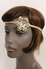New Women Big Gold Metal Flower Head Band Chain Fashion Hair Jewelry Elastic