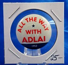 All The Way With Adlai Stevenson Presidential Holographic Pinback Button 2 1/2""