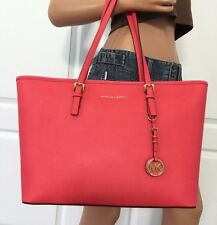 Michael Kors Medium Jet Set Travel Multifunction Saffiano Leather Tote Bag Coral