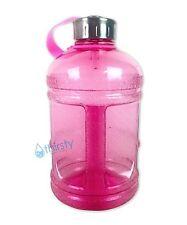 Pink BPA Free Half Gallon Water Bottle Drinking Jug Gym Canteen Steel Cap 64 oz