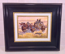 Vintage P Bonnet Enamel Painting on Copper Plate The Overland Stage Ltd Ed